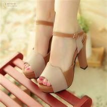 Giày cao gót H.Q phối màu quý phái