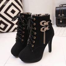 Giày boots cao gót thắt dây có khoá kéo Hàn Quốc