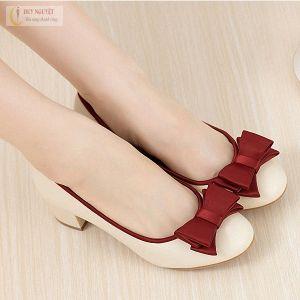 Giày da gót vuông nơ xinh cao cấp