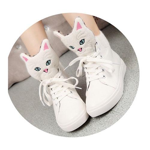 Giày nữ mặt họa tiết mặt mèo đáng yêu