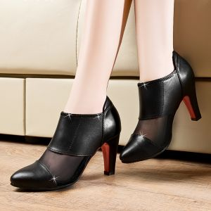 Giày Boot da cổ thấp phối lưới