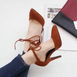 Giày gót nhọn bít mũi buộc dây cao cấp