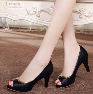 Giày cao gót phối viền vàng