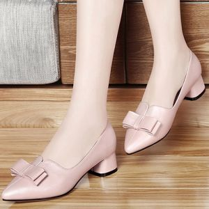 Giày gót vuông nơ cao cấp