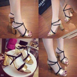 Giày cao gót dây Bóng Kiếng bản vàng