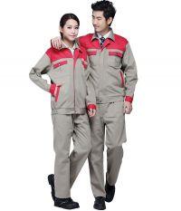 Quần áo bảo hộ pha màu ghi - đỏ vải pangjim Hàn Quốc