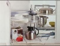 Kệ góc inox cao cấp dạng rỗ vuông, tận dụng tối đa góc bếp rất tiện lợi.
