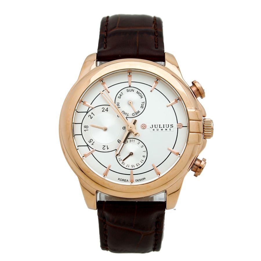 Đồng hồ nam 6 kim JULIUS JAh-071 dây da (Nâu đen)