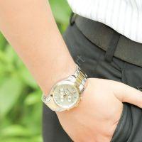 Đồng hồ nam JULIUS 6 kim JAH092 dây thép (trắng phối vàng)