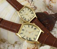 Đồng hồ cặp JULIUS JA-703 dây da (nâu)
