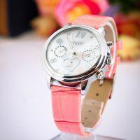Đồng hồ julius 6 kim JA-844 dây da hồng | Size 35
