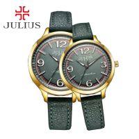 Đồng hồ cặp JULIUS JA940 dây da (xanh rêu)