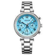 Đồng hồ nữ 6 kim JULIUS JA950 dây thép (bạc mặt xanh)