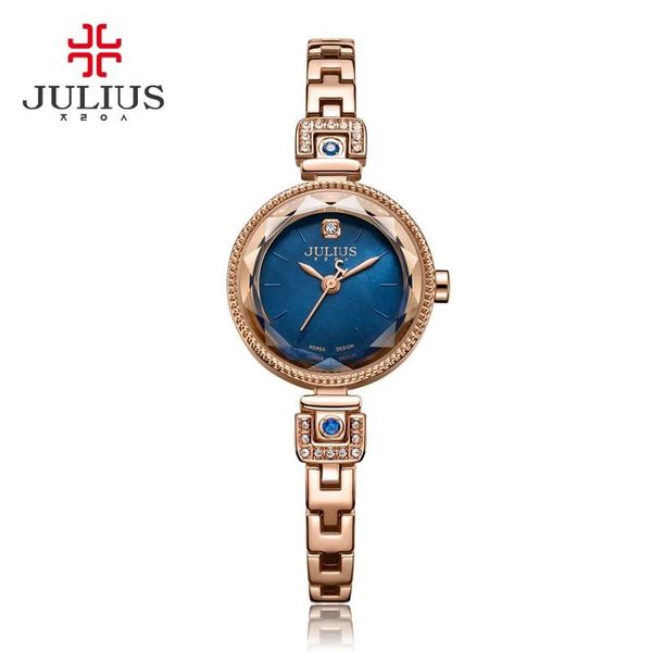 Đồng hồ nữ JULIUS JA981 dây thép (mặt xanh)