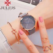 Đồng hồ nữ JULIUS Hàn QUốc JA978 dây da xám
