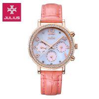 Đồng hồ nữ JULIUS Hàn QUốc JA828 dây da hồng