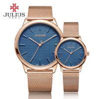 Đồng hồ cặp Julius JA982 dây thép (mặt xanh)