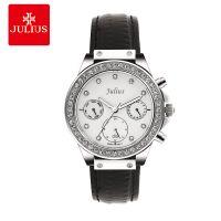 Đồng hồ nữ 6 kim JULIUS JA-815 dây da (đen)