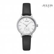 ĐỒNG HỒ NỮ JULIUS STAR JS011 dây da đen + Tặng dây thép bạc