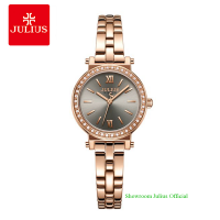 Đồng hồ Julius nữ JA1124A dây thép vàng đồng mặt xám