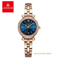 Đồng hồ Julius nữ JA1124A dây thép vàng đồng mặt xanh dương