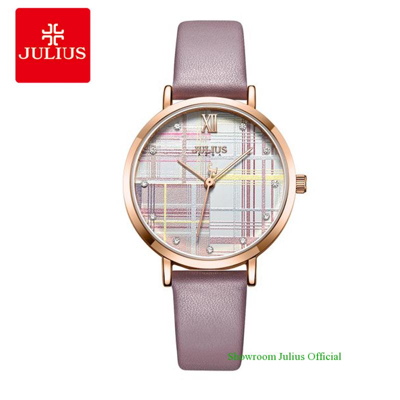 Đồng hồ Julius nữ JA1133 dây dây da tím - size 32