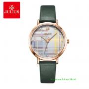 Đồng hồ Julius nữ JA1133 dây dây da xanh rêu