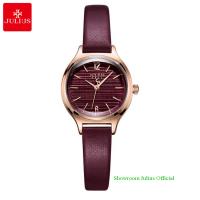 Đồng hồ Julius nữ JA1131 dây dây da đỏ tím