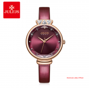 Đồng hồ Julius nữ JA1140 dây da hồng đậm