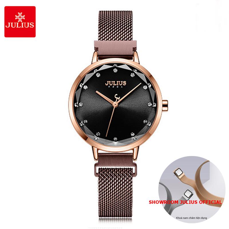 Đồng hồ Julius nữ JA1143 dây thép mặt đen khóa nam châm