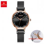 Đồng hồ Julius nữ JA1143 dây thép đen mặt đen khóa nam châm
