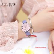 ĐỒNG HỒ Nữ  JULIUS STAR JS010 dây da tím tặng dây da xám