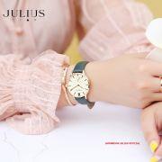 ĐỒNG HỒ Nữ  JULIUS STAR JS010 dây da xanh lá tặng dây xám