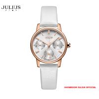 ĐỒNG HỒ Nữ  JULIUS STAR JS023 kính sapphire dây da trắng - Size 28
