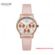 ĐỒNG HỒ Nữ  JULIUS STAR JS023 kính sapphire dây da hồng