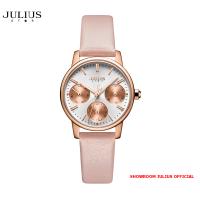 ĐỒNG HỒ Nữ  JULIUS STAR JS023 kính sapphire dây da hồng- Size 28