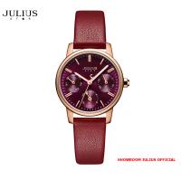 ĐỒNG HỒ Nữ  JULIUS STAR JS023 kính sapphire dây da đỏ