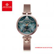 Đồng hồ Julius nữ JA1145 dây thép mặt xanh