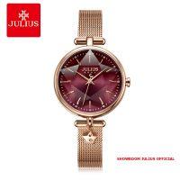Đồng hồ Julius nữ JA1145 dây thép mặt đỏ tím