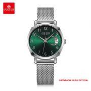 Đồng hồ Julius nữ JA1146 dây thép mặt xanh