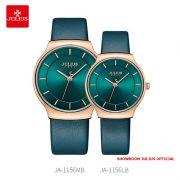 Đồng hồ cặp Julius JA1156 dây da xanh ngọc
