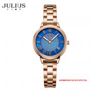 ĐỒNG HỒ Nữ JULIUS STAR JS015 dây thép vàng đồng mặt xanh