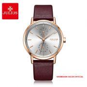 Đồng hồ nữ Julius JA1159 dây da nâu đỏ