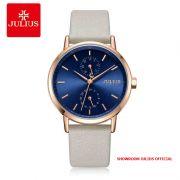 Đồng hồ nữ Julius JA1159 dây da trắng mặt xanh