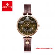 Đồng hồ Julius nữ JA1145 dây thép nâu tím