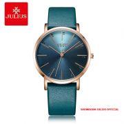 Đồng hồ Julius nữ JA1161 dây da xanh