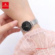 Đồng hồ Julius nữ JA1164LA dây thép bạc mặt đen - Size 28
