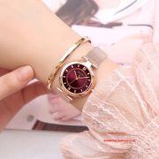 Đồng hồ nữ Julius JS028C kính Sapphire dây inox mạ ION - Size 31