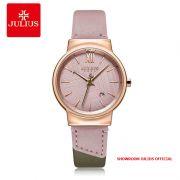 Đồng hồ nữ Julius JA1181C dây da hồng - Size 33