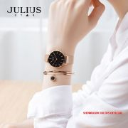 Đồng hồ nữ Julius JS027C kính Sapphire dây inox - Size 32